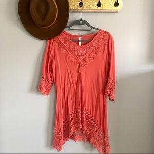 Boho half sleeve crotchet coral tunic/cover up — S